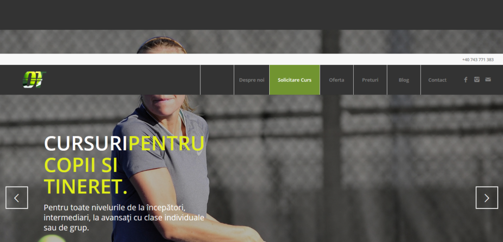 creare site club tenis